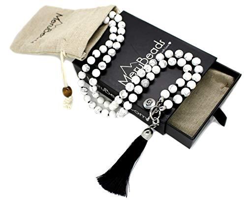 MeruBeads 8mm Wrap Mala - Howlite Mala Beads Necklace - Japa Mala Necklace - Howlite Necklace - White Gemstone Necklace