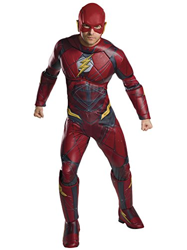 The Flash Costumes For Adults (Rubie's Men's Justice League Deluxe Flash Costume, As Shown, Standard)