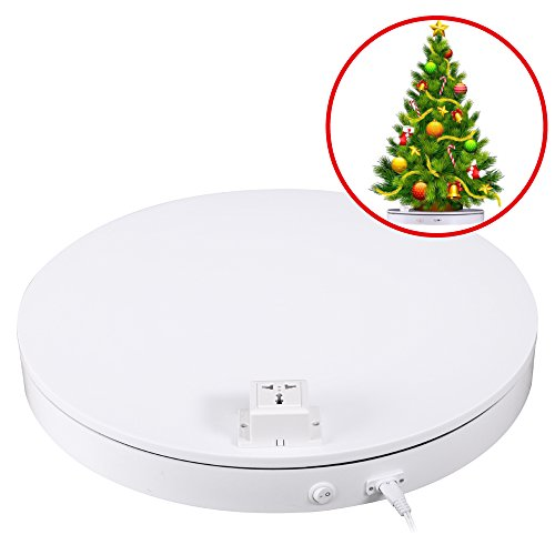 Fotoconic White Electric Motorized Rotating Turntable Display Stand with AC Power Outlet for Electrical Product Display, 20 Inch 50cm Diameter, 180 Pounds Loading