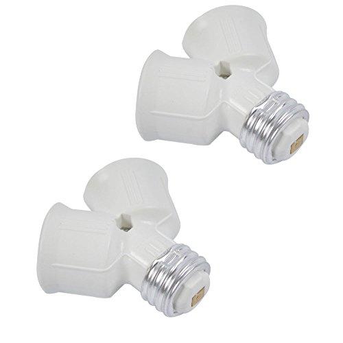 Crazy K&A 2 Pack E27 to 2 E27 LED Light Lamp Bulb Y Shape Split Adapter Converter Splitter Base Socket