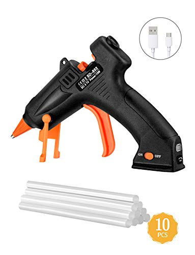 TOPELEK Cordless Hot Glue Gun Kit, 15W Mini Glue Gun with 10Pcs Glue Sticks, USB Charging Hot Melt Glue Gun for DIY Crafts, Quick Repairs, Home, School, Office Arts
