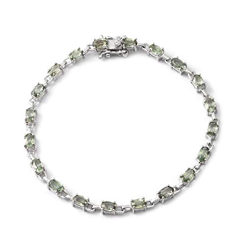 (925 Sterling Silver Platinum Plated Oval Green Sapphire Bracelet for Women 7.25
