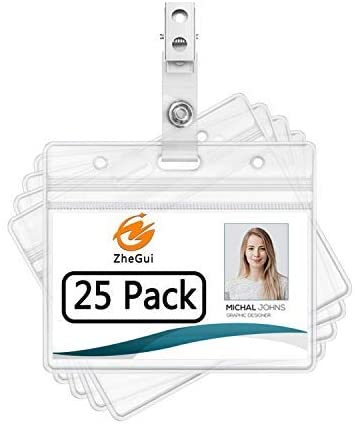 75 PIECES PLASTIC ID CARD NAME TAG HOLDER BADGE  HOOK METAL CLIP
