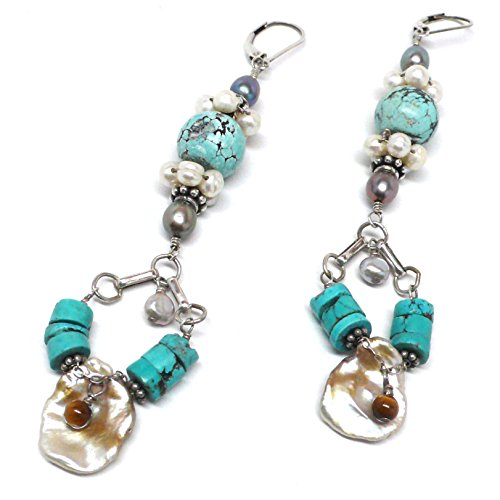 Chinese Turquoise Cultured Cornflake Pearl Tiger Eye Chandelier Statement Earrings OOAK