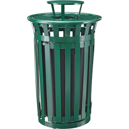 Global Industrial Outdoor Metal Slatted Waste Receptacle w/Access Door, Rain Bonnet 36 Gal GN