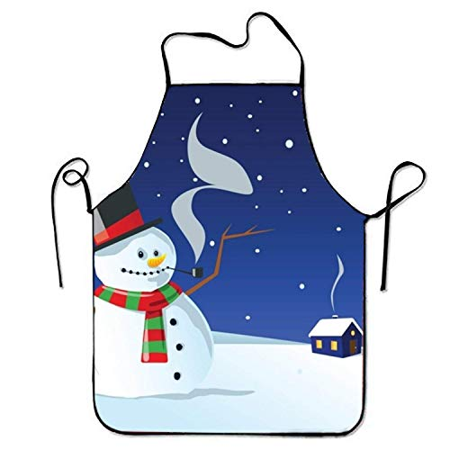 Sandayun88x Bib Aprons Cold Winter Night Sweetheart Chef Kitchen Apron for Women Men -