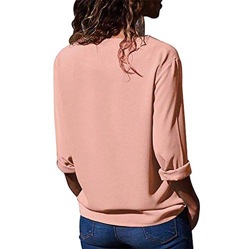 en Slant M Chemise Revers Longues Irrgulire Mousseline Chemise Manches Couleur De Gray Top W Pink amp;TT Bouton Soie de Couleurs De Col 6 6ZzqF1w