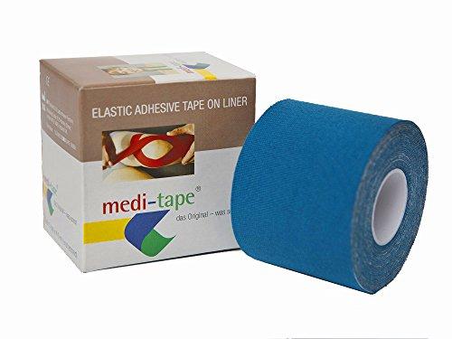 medi-tape blau, Kinesiologie Tape (4,50 m x 5 cm) in 6 Farben, reine Baumwolle,Physiotape, im Sport und Alltag