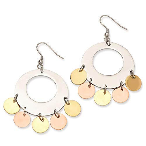 Stainless Steel Yellow & Rose IP-plated Fancy Circles Dangle Earrings