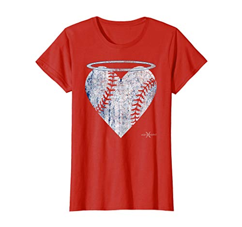 Vintage Angel Baseball Heart with Halo Tee Shirt