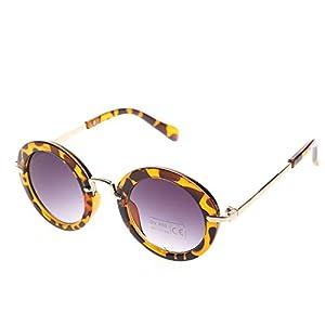 KANG--Stylish Baby Goggles Children Child Kids Boys Girls Retro Anti-UV400 Sunglasses (Leopard)