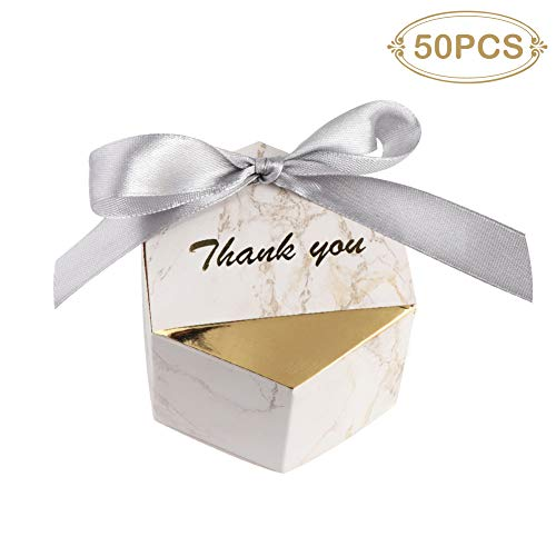PartyTalk Marble Wedding Favors Candy Boxes Ribbons 50pcs