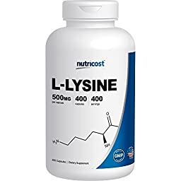 Nutricost L-Lysine 500mg; 400 Capsules