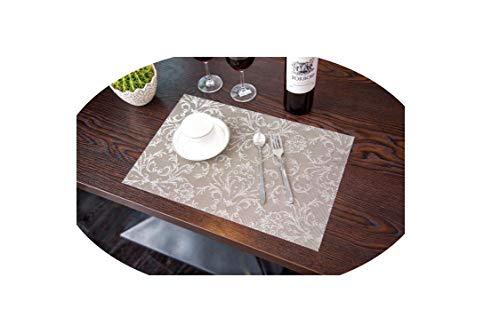 4 Pcs/Lot European Placemat Dining Tables Mats Bar Mat Waterproof Kitchen Accessories Dining Table Mat Bowl Pad Table Decoration,Light Grey ()