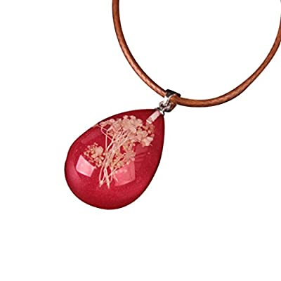 Nmch Necklace Jewelry, Women's Luminous Dried Flower Teardrop Pendant Necklace Charm Chain Jewelry Gift by (Multicolor A): Clothing