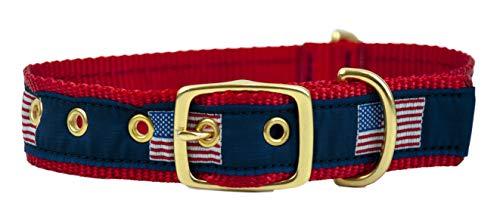 Leather Man Ltd Classic American Flag Dog Collar (Medium)