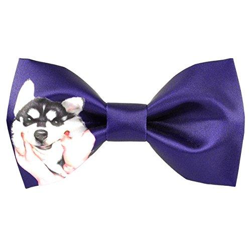 (100% Satin Silk Mens Pre-tied Bowtie Solid Bow Ties-Animal Series (black dog purple))