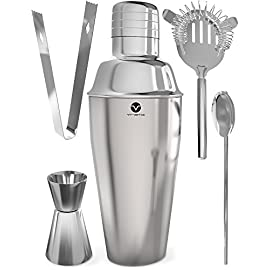 Vremi Bartending Set 1 COCKTAIL SHAKER and STRAINER SET - 5 piece barware tool set for making perfectly mixed drinks and craft cocktails. Includes 25oz martini shaker with strainer and leak proof lid top, dual jigger shot glass, drink stirrer spoon and mini ice tongs CLASSIC STAINLESS STEEL with MIRROR FINISH - Professional bartending tools set is made with premium quality stainless steel metal to resist rust, scratches, and dents, and to keep flavor of any alcohol beverage pure so you can shake, mix and enjoy FOR MOCKTAILS OR MIXOLOGY - Unlike other shakers, this mixer features tight fitting lid cap that seals so you don't miss a drop of your skinny margarita, dirty vodka martini or bourbon blender shots. Also great for healthy juice or water based drinks