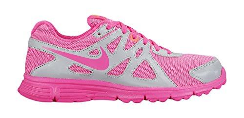 Nike Mädchen Revolution 2 GS Laufschuhe, Grau / Rosa / Weiß (Mtlc Pltnm / Pnk Pw-Weiß-Brght), 36 EU
