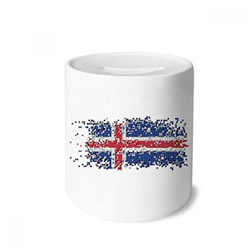 DIYthinker Iceland Abstract Flag Pattern Money Box Saving Banks Ceramic Coin Case Kids Adults