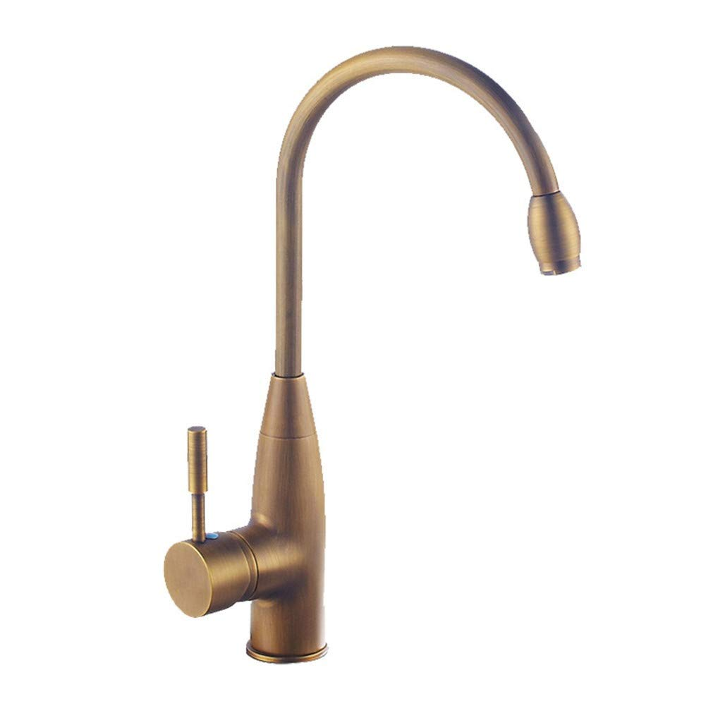 QIMEIM Basin Mixer Tap Bathroom Sink Tap Mixer Wash Sink Faucet Antique Brass Hot and Cold Water Retro Brushed Finish Single Handle Single Hole Bathroom Mixer Taps