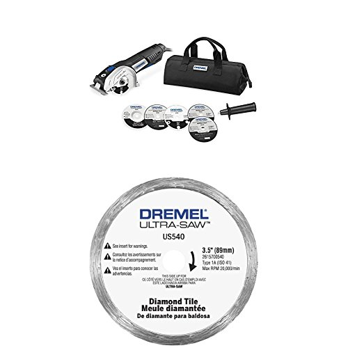 (Dremel US40-03 Ultra-Saw Tool Kit with 5 Accessories and 1 Attachment w/ Tile Diamond Blade)