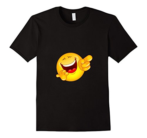 Laughing Man T-shirt - Men's Point Laugh Emoticon T-Shirt Emoji Pointing and Laughing Ha 2XL Black