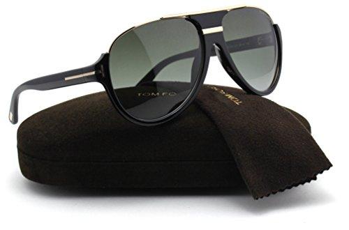 Tom Ford FT0334 DIMITRY Unisex Aviator Sunglasses (Shiny Black Frame, Green Gradient Lens ()