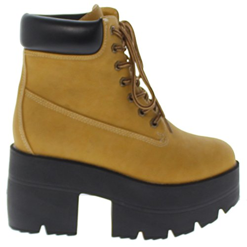 Ankle Chunky Republic Wheat Lace Platform Boots Work Adam Up Shoe AqgCX5w