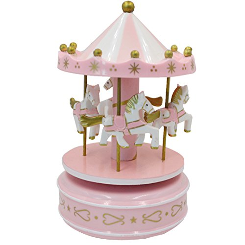 Kennedy Fantasy Wooden Carousel Rotating Music Box Classic Music Box For Children Girls Christmas Birthday Wedding Gift Toy (Pink) (Box Classic Pink Gift)