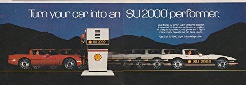 *PRINT AD* 1985 SHELL SU 2000 SUPER UNLEADED GASOLINE with CHEVROLET CORVETTE