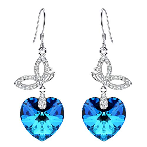 EleQueen 925 Sterling Silver CZ Love Heart Butterfly French Hook Dangle Earrings Bermuda Blue Made with Swarovski Crystals