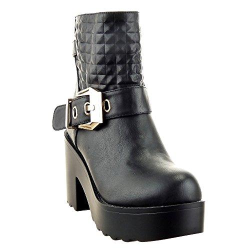 Sopily - Scarpe da Moda Stivaletti - Scarponcini Cavalier alla caviglia donna trapuntata fibbia 9.5 CM - soletta sintetico - foderato di pelliccia - Nero