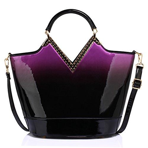 Womens Tote Handbag Ladies Shoulder Faux Leather Bag New Purple