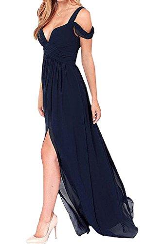Promkleid Ivydressing Damen Abendkleid Dunkelblau Partykleid Linie Schlitz Exquisite A Festkleid Chiffon xHnrxFZ