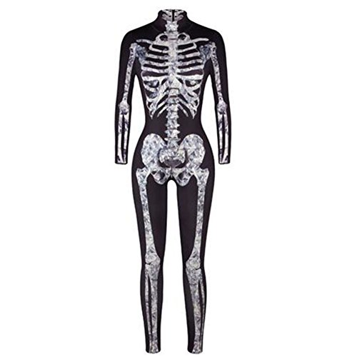 GERGER BO Womens Unique Sugar Skeleton Halloween Party Costume Skinny Bodysuit Catsuit XL (Using Old Dance Costumes For Halloween)