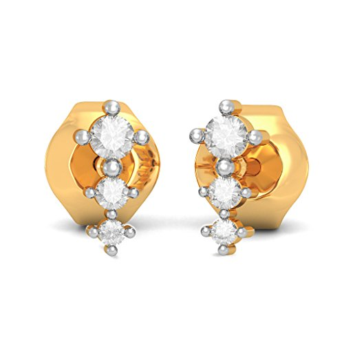 14 K Or jaune 0,26 CT TW White-diamond (IJ | SI) Boucles d'oreille à tige
