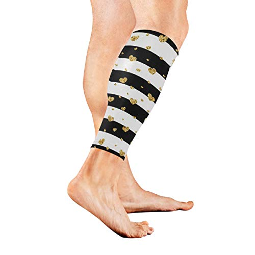 SLHFPX Leg Sleeve Stripe Gold Heart Compression Socks Support Non Slip Calf Sleeves for Yoga, Running, Shin Splint, Calf Pain Relief, Runners, Medical, Air Travel, Nursing, Cycling 1Pair