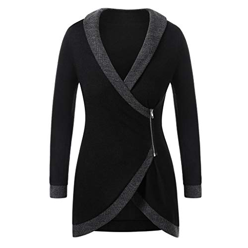 ZEFOTIM Fashion Women Knitted Long Coat Shawl Collar Contrast Trim Side Zipper Cardigan(Large,Black)