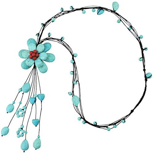 FIRSTMEET handmade Turquoise flower Wax rope pendant long Y-Necklaces (XL-1037-origin)