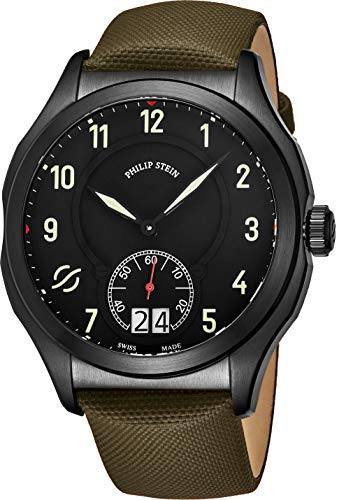 Philip Stein Prestige Big Date Mens Black Stainless Steel Watch - Swiss Made with Luminous Hands and Numbers Green Leather Band - Natural Frequency Technology Provides More Energy and Better Sleep