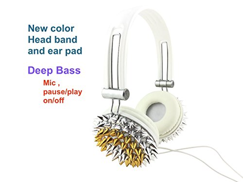 Blingustyle new design Bling GOLD and silver Spike Fashion Ear-Cup headphone with MIC/color headband ear pad DJ headphone ,same color band, ear-pads, wire. mic , on/off (pause/play), deep bass founcti