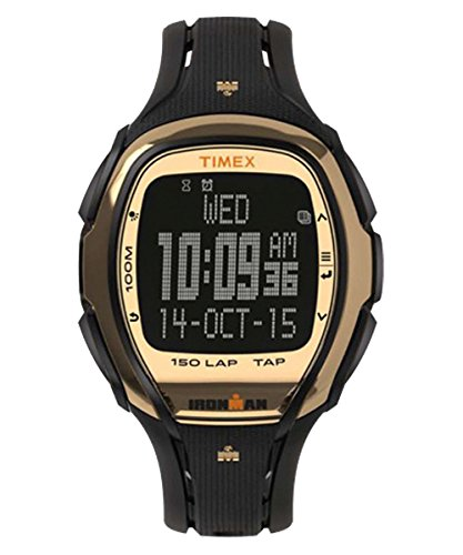 Timex Unisex Ironman Sleek 150 Tapscreen Hollywood Full-Size Resin Strap Black/Gold-Tone One (150 Lap Sleek Watch)