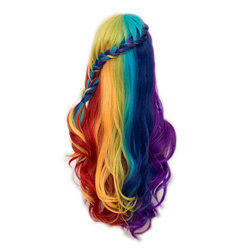 Alacos Rainbow Color Long Curly Gothic Lolita Harajuku Anime Cosplay Christmas Costume Wig for Women +Free Wig Cap