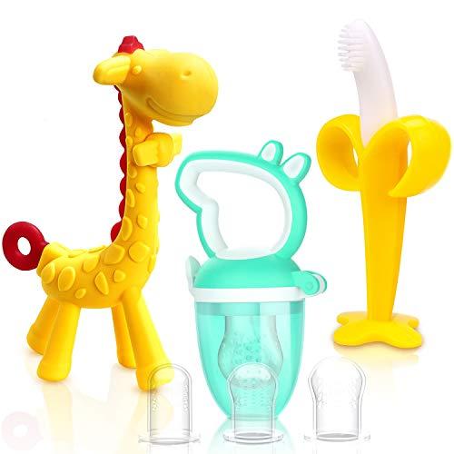 TitaCare Natuurlijke organische babytandjes krijgen Giraffe Banana Bijtring Set (Geel)