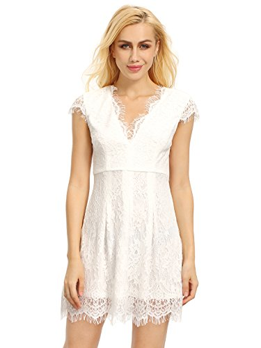 ROMWE Women's Gorgeous V neck A Line Sexy Short Cap Sleeve Lace Dress White M
