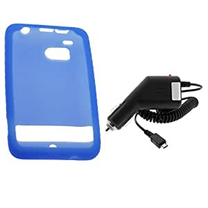 GTMax Car Charger+Blue Silicone Skin Rubber Soft Case For HTC 6400 Thunderbolt Cellphone