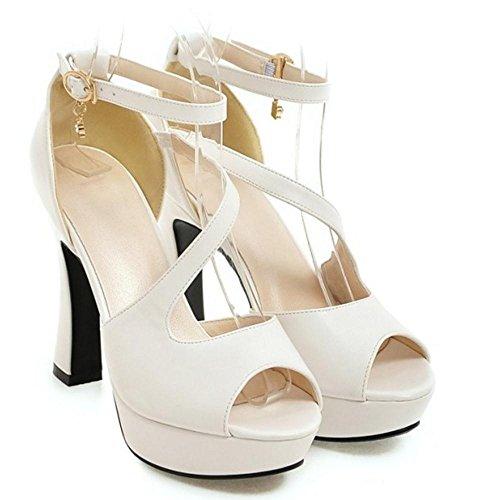 White Femmes Bride Sandales Cheville Razamaza Heels w8Avnv7