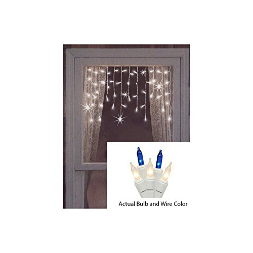 Set of 50 Blue and Frosted Clear Mini Window Curtain Icicle Christmas Lights - White Wire (Clear Icicle Lights)