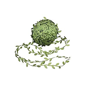 Allen R Floyd 132 ft Olive Green Leaves Leaf Trim Ribbon DIY Craft Party Wedding Home Decoration 8